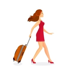 Woman with suitcase is going in airport terminal vector