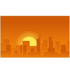 Silhouette background city on the sunset vector