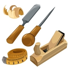 Working tools of a carpenter set isolated vector