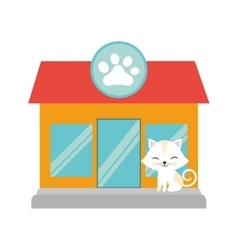 White cat stripes closed eyes pet shop facade paw vector