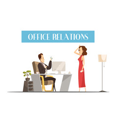 Office relations cartoon style design vector
