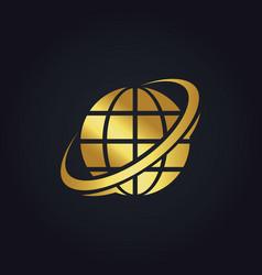 Globe planet technology gold logo vector