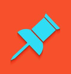 Pin push sign  whitish icon on brick wall vector
