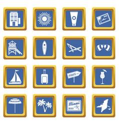 Miami icons set blue vector