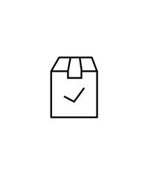 Checked delivery box icon vector