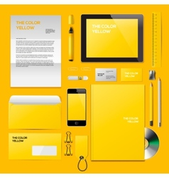 Yellow corporate id mockup vector