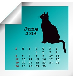 June 2016 calendar vector