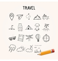 Universal set of doodle icons travel vector