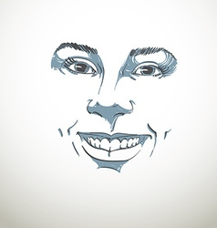Facial expression hand-drawn of face of a girl wit vector