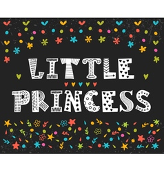 Little princess cute greeting card for little girl vector