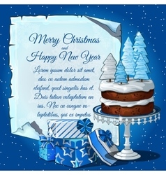 Christmas cake with snow tree gift boxes vector