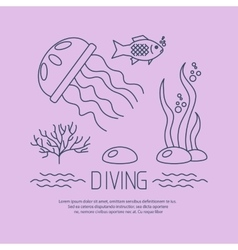Diving icon with jellyfish and seaweed vector