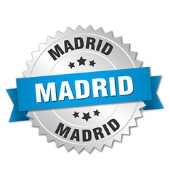Madrid round silver badge with blue ribbon vector