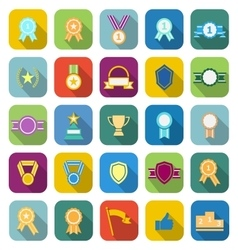 Award color icons with long shadow vector