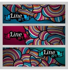Banners with hand drawn waves line art vector