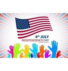 big and small hands on USA vector image