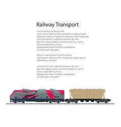 brochure locomotive with hopper car vector image