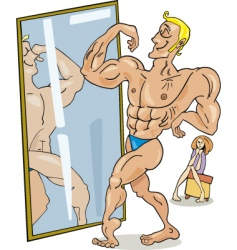 Cartoon muscular man vector