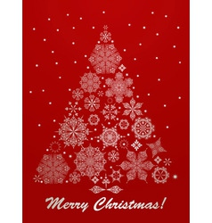 christmas greeting card with fir tree vector image