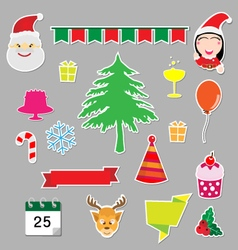 Christmas stickers icons vector