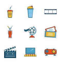 cinema entrance icons set cartoon style vector image