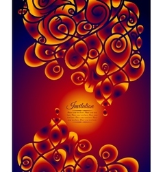 Colorful decorative invitation card with swirling vector