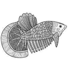 coloring page with zentangle fish vector image vector image