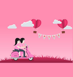 Cute character cartoon and paper style love of vector