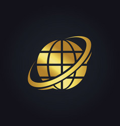Globe planet technology gold logo vector