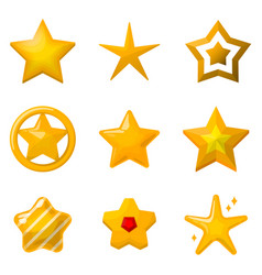 glossy gold stars in cartoon style icons set for vector image vector image