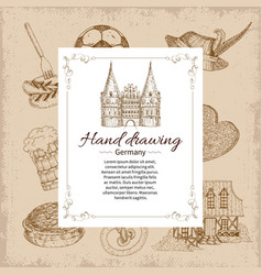 Hand drawing germany background vector