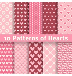 Heart shape seamless patterns tiling vector