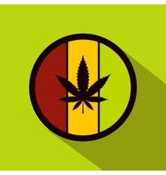 Hemp leaf on round rasta flag icon flat style vector