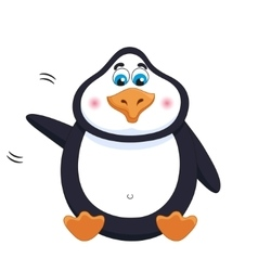 Kind cheerful cute penguin sits fat birdie vector