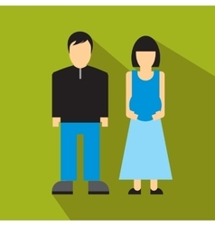 Man and pregnant woman flat icon vector