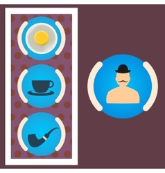 Morning set gentleman scrambled eggs tea tube vector