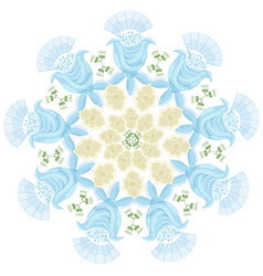 Ornament of blue graphic abstract flowers and buds vector