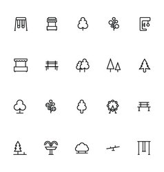 Park Line Icons 1 vector image