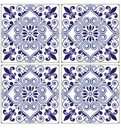portuguese tiles pattern - azulejo blue design vector image