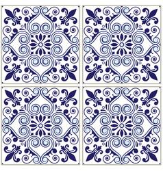 portuguese tiles pattern - azulejo blue design vector image vector image