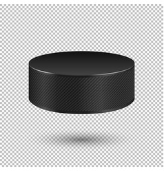 realistic flying ice hockey puck closeup vector image