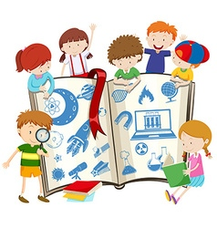 Science book and children vector image vector image