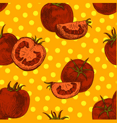 Seamless pattern of tomato background vector