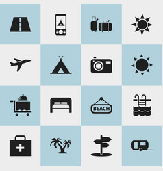 set of 16 editable journey icons includes symbols vector image vector image