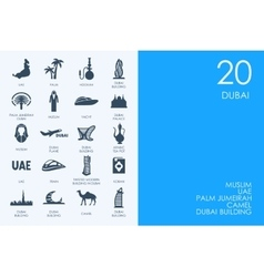 Set of blue hamster library dubai icons vector
