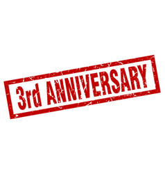 Square grunge red 3rd anniversary stamp vector
