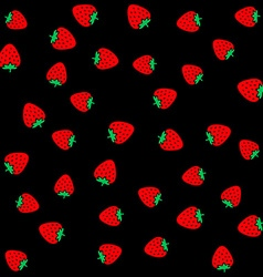 Strawberry berries on a black color seamless vector image vector image