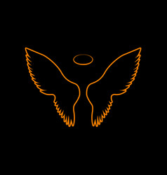Wings sign orange icon on black vector