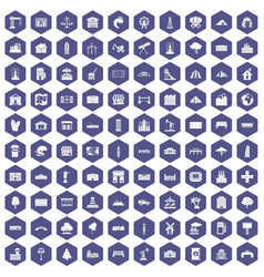 100 landscape element icons hexagon purple vector