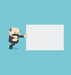 Businessman with blank signboard vector